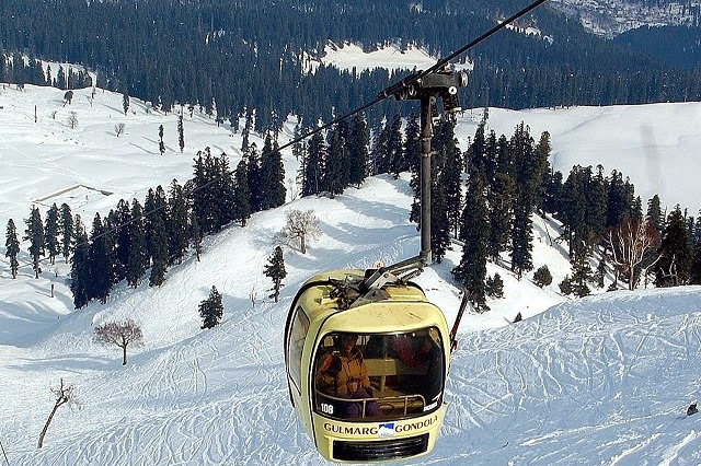 Gondola Ride in Gulmarg -  the highest ski lift in the world.