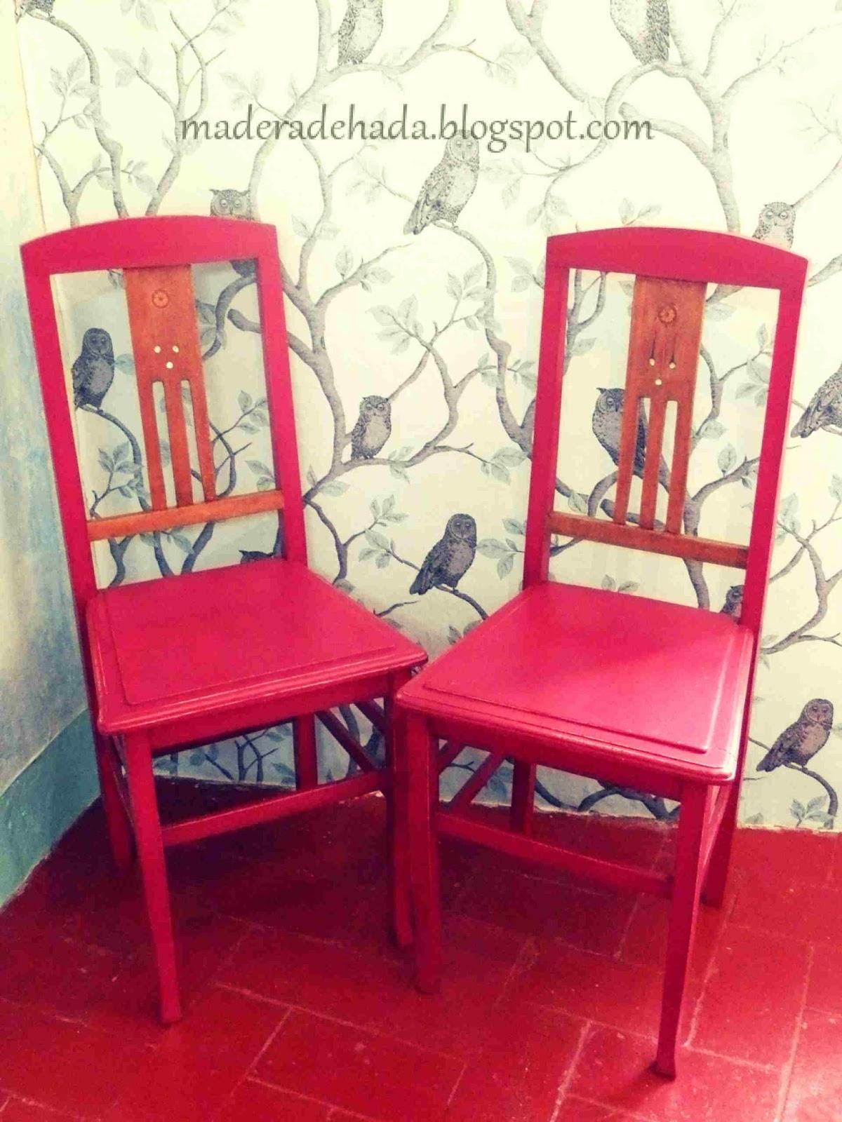 Sillas vintage pintadas de color oto o madera de hada - Sillas vintage madera ...