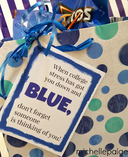 College Blues-- Care package of all blue treats and printable tag.