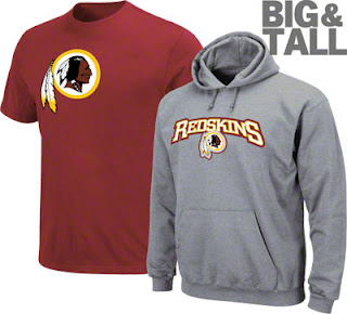 Big and Tall Washington Redskins Apparel
