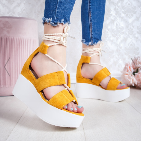 Sandale cu platforma dama galbene cu snur modern piele intoarsa eco