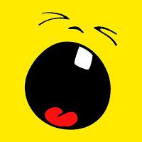 Smiley de olhos fechados gritando com a boca bem aberta em círculo e um só dente