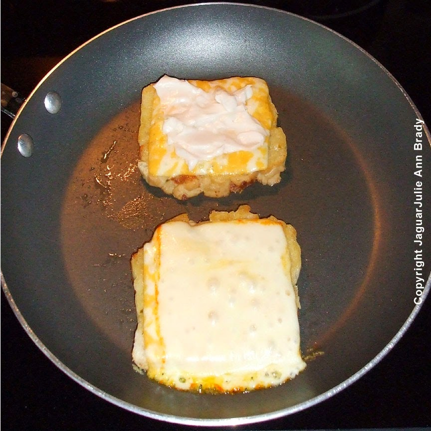 add kraft miracle whip dressing to spicy grilled cheese sandwich