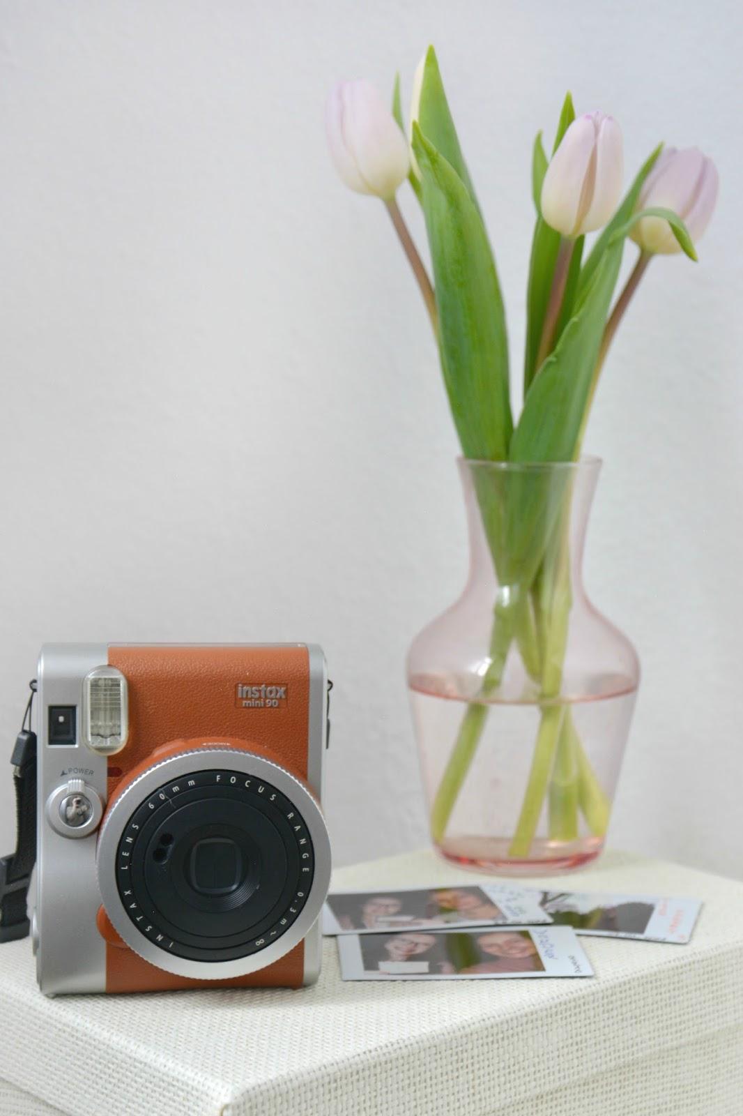 Instax Mini 90s Retro Brown; Polariod Pictures; Fresh Tulips; Primark Pink Vase