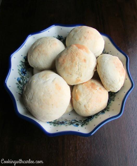bowl of golden potato rolls