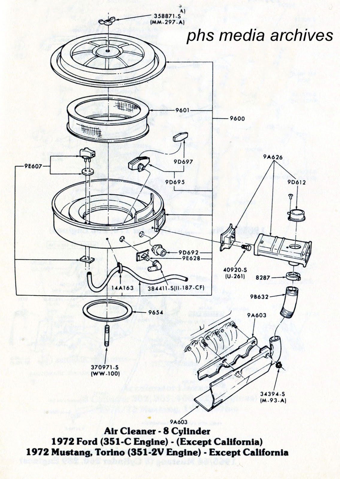 tech series ford mustang air cleaner id guide 1971 1973 1973 Mustang Mach 1 sharing ponents with torino became more obvious by 1972