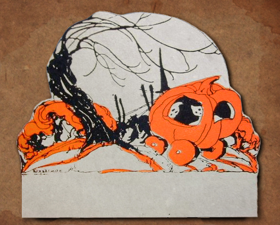 Ghosts In Pumpkin Carriage Pulled Through The Dark Forest By A Witch And Her Black Cats