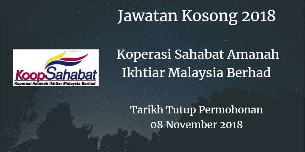 Jawatan Kosong Koperasi Sahabat Amanah Ikhtiar Malaysia Berhad 08 November 2018