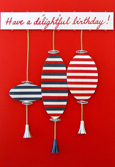 handmade birthday card with striped paper lanterns