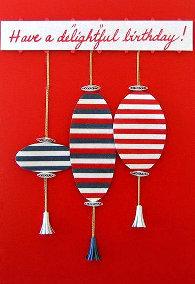 handmade birthday card with striped paper lanterns