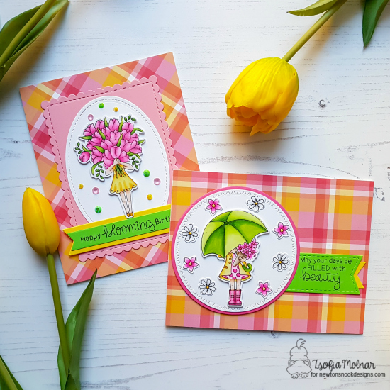 Spring cards with tulips and umbrella by Zsofia Molnar | Loads of Blooms Stamp Set by Newton's Nook Designs