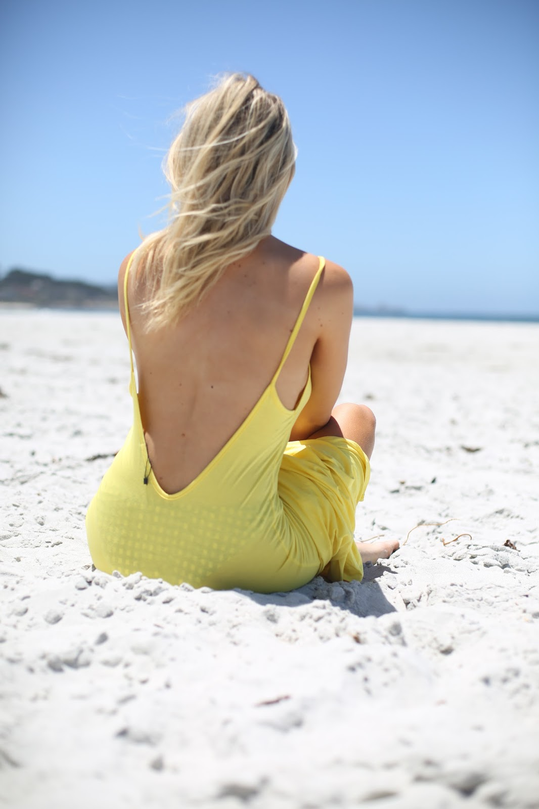 yellow backless maxi dress