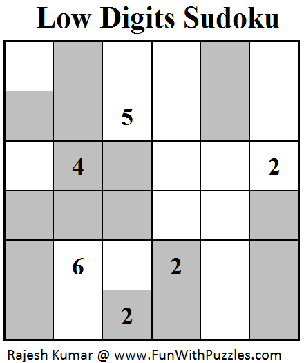 Low Digits Sudoku (Mini Sudoku Series #51)
