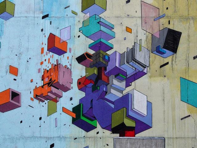 Abstract Street Art By Italian Artist Etnik In Tirano, Italy. 2