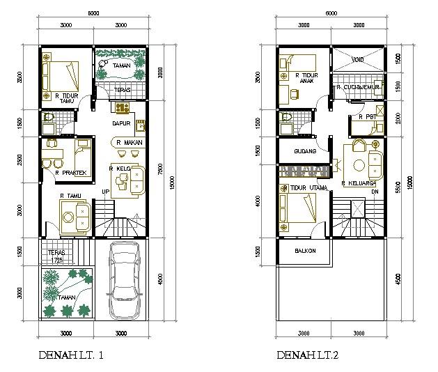 denah rumah ukuran 6x10m2 3 kamar 1