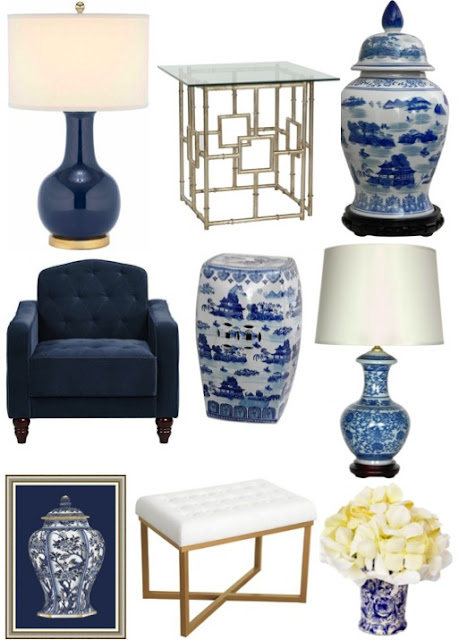 blue and white chinoiserie decor on a budget
