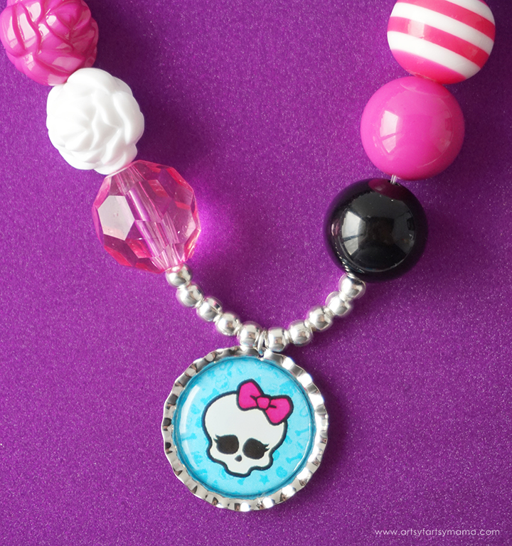 """Ghouls"" everywhere will have fun making their own Monster High Bottle Cap Necklace!"