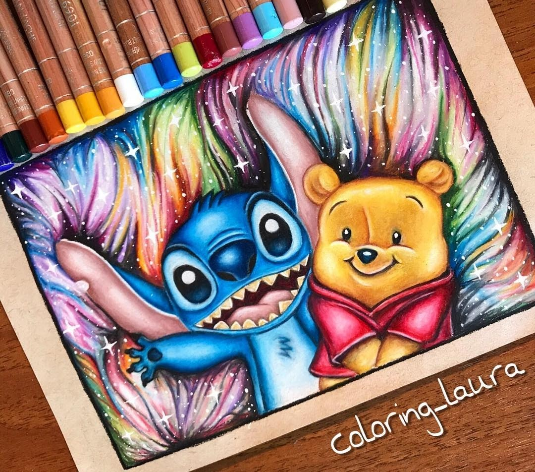 04-Stitch-and-Baby-Winnie-the-Pooh-Laura-Animated-Characters-Drawings-a-Time-Trip-to-Childhood-www-designstack-co
