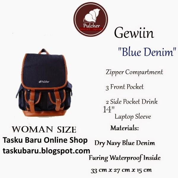tas sekolah export model terbaru 2015 - Gewiin women blue denim