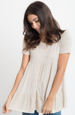 Buy now oatmeal Short Sleeve Ruffled Tiered Tunic Online $10 -@caralase.com