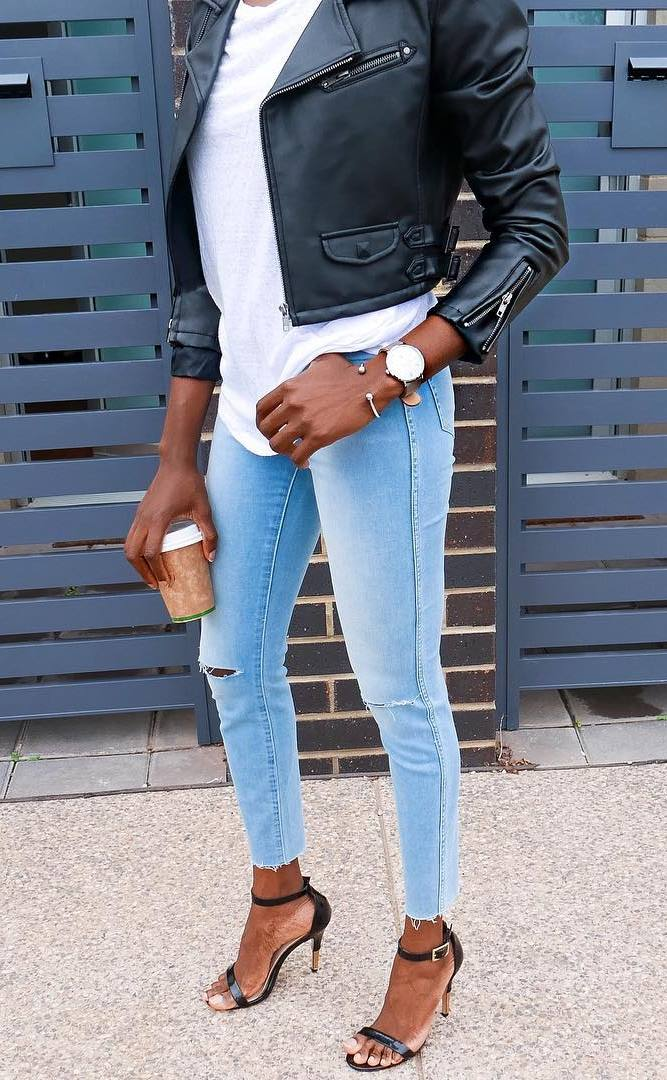 cute outfit idea for this season_black leather jacket + white top + skinny jeans + heels