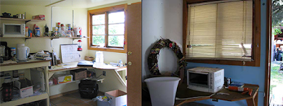 Before and after gold rush cabin clean up of writing desk