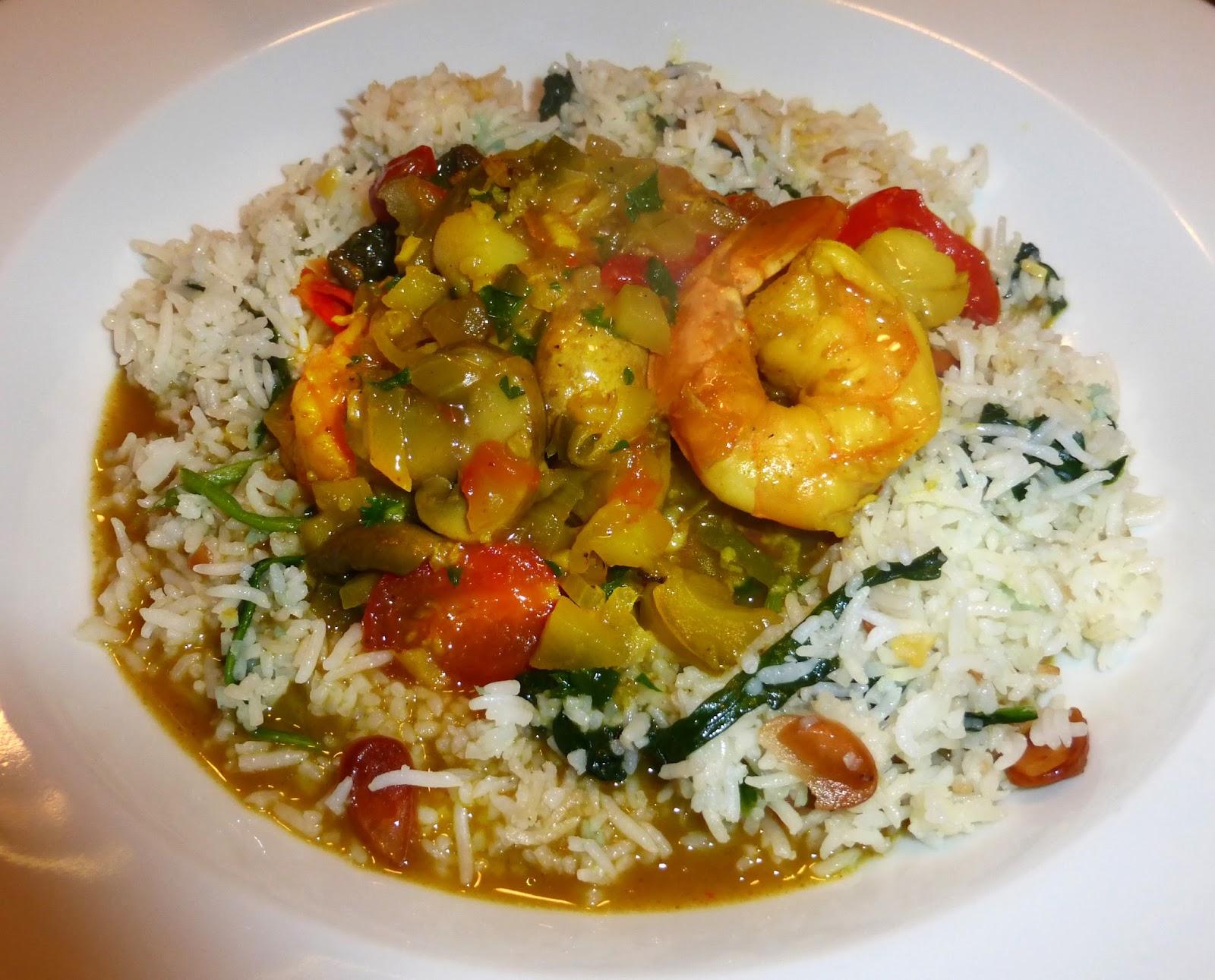 Shrimp Curry / Basmati Rice / Spinach