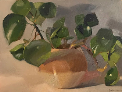"""Cascade"" houseplant oil painting still life by Sarah Sedwick 2019"