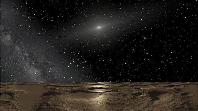Hình ảnh mô phỏng góc nhìn từ hành tinh lùn Sedna. Nhà vật lý David Gerdes cho rằng khung cảnh từ hành tinh lùn 2014 UZ224 cũng tương tự như thế này. Credit: NASA, ESA and Adolf Schaller.