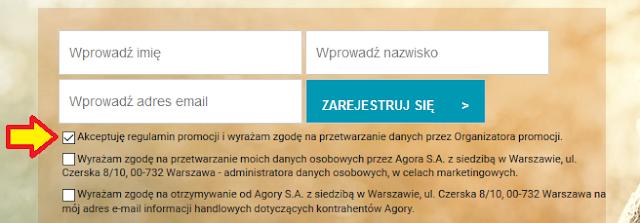 zgoda wymagana przy rejestraacji w promocji Agory i BZ WBK - Konto Godne Polecenia z premią 120 zł