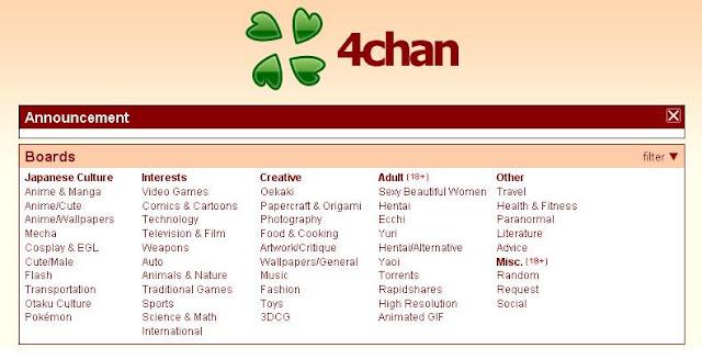 4chan é um fórum de discussão controversa e em grande parte não moderada. O site, criado em 2003 permite aos usuários postarem anonimamente