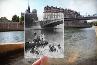 Baignades sous le pont Saint Louis