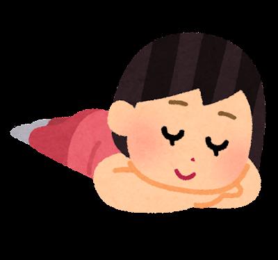 うつ伏せで寝る人のイラスト(女性)