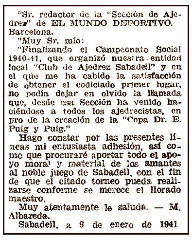Recorte de El Mundo Deportivo, 31 de enero de 1941