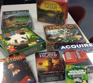 Table of board games at the library