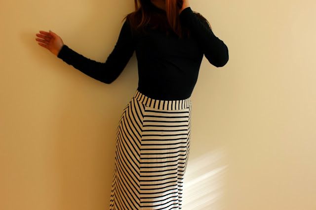 Stripped Black And White Maxi Skirt