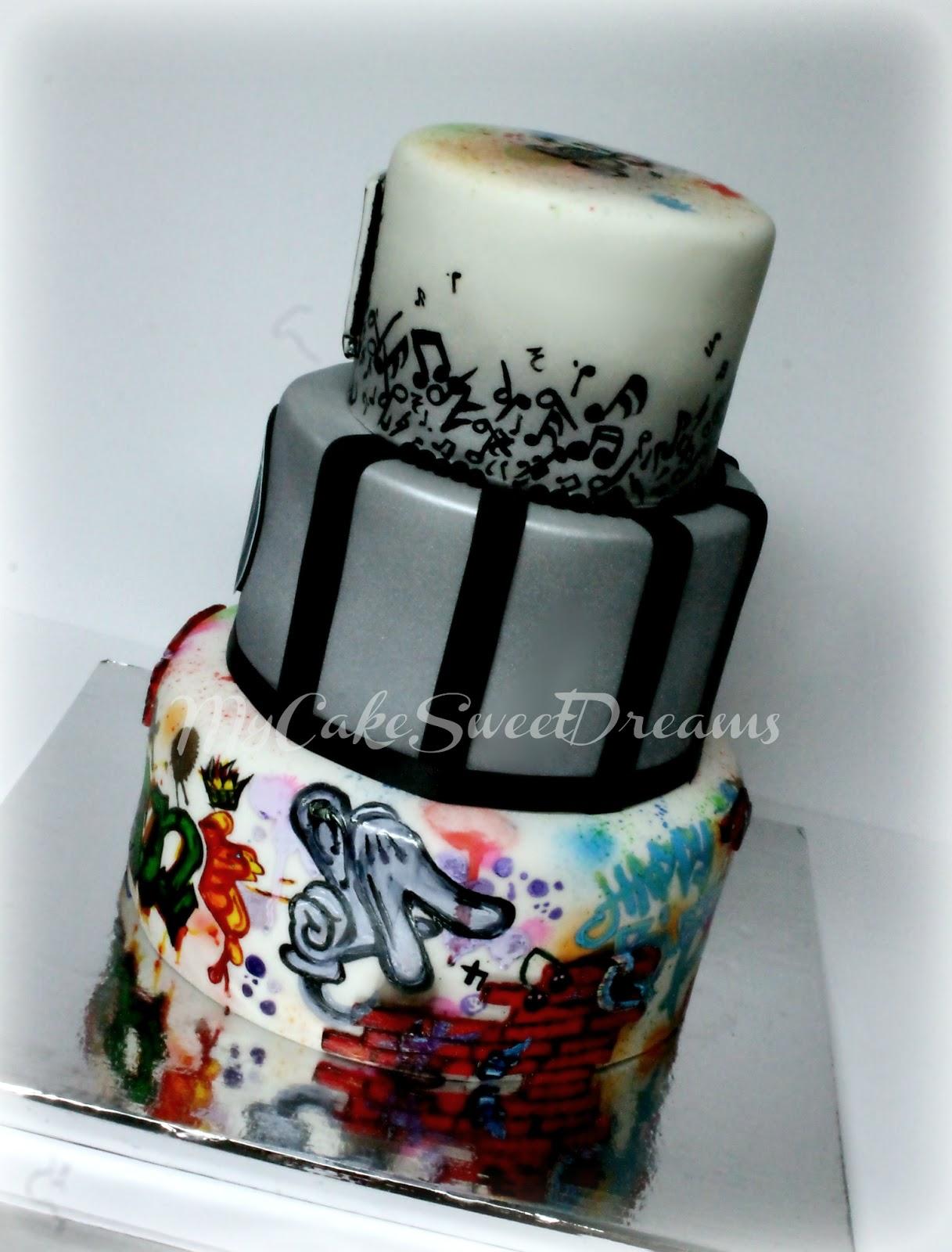 My Cake Sweet Dreams Music Raiders Graffiti Birthday Cake