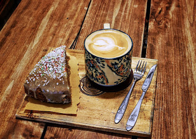 coffee and cake in a coffee shop in Shiraz.