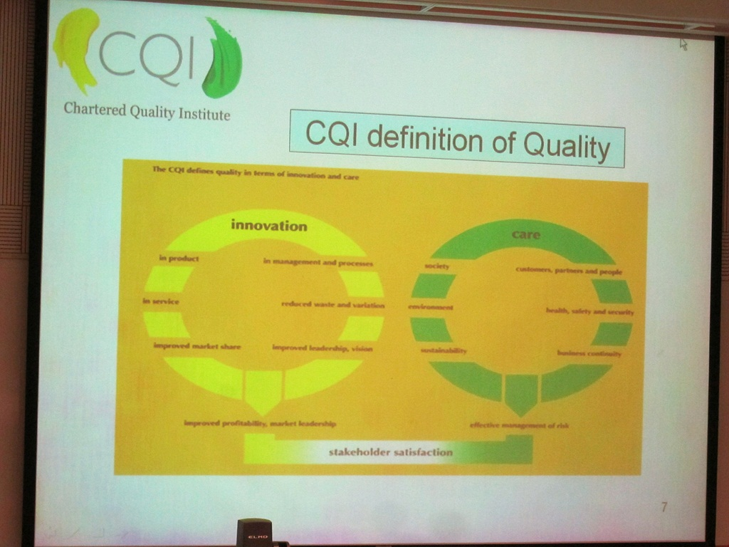 in 2007 iqa renamed to chartered quality institute cqi the diagram showed the cqi logo design background and its definition of quality  [ 1024 x 768 Pixel ]