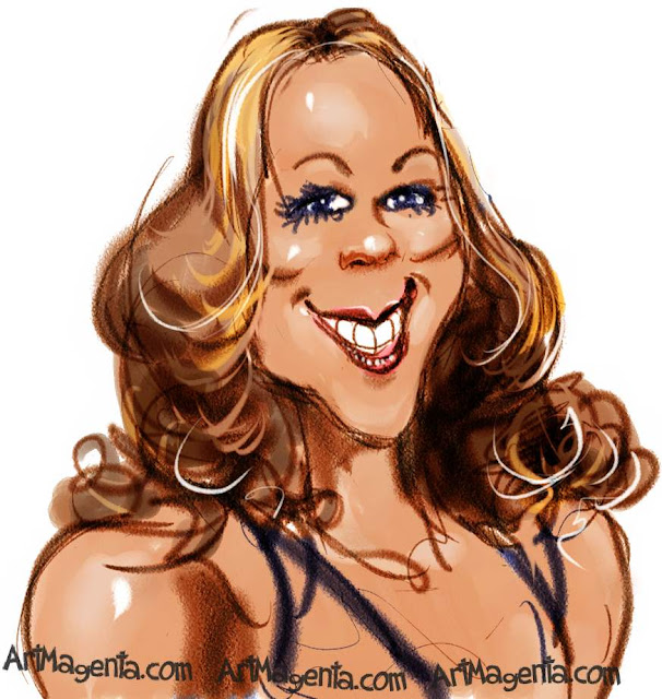 Mariah Carey caricature cartoon. Portrait drawing by caricaturist Artmagenta.