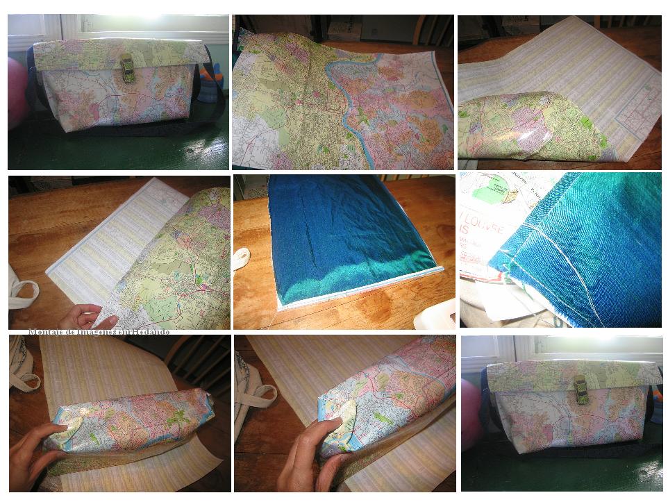 bolso, papel, tela, adhesivo, mapa, labores