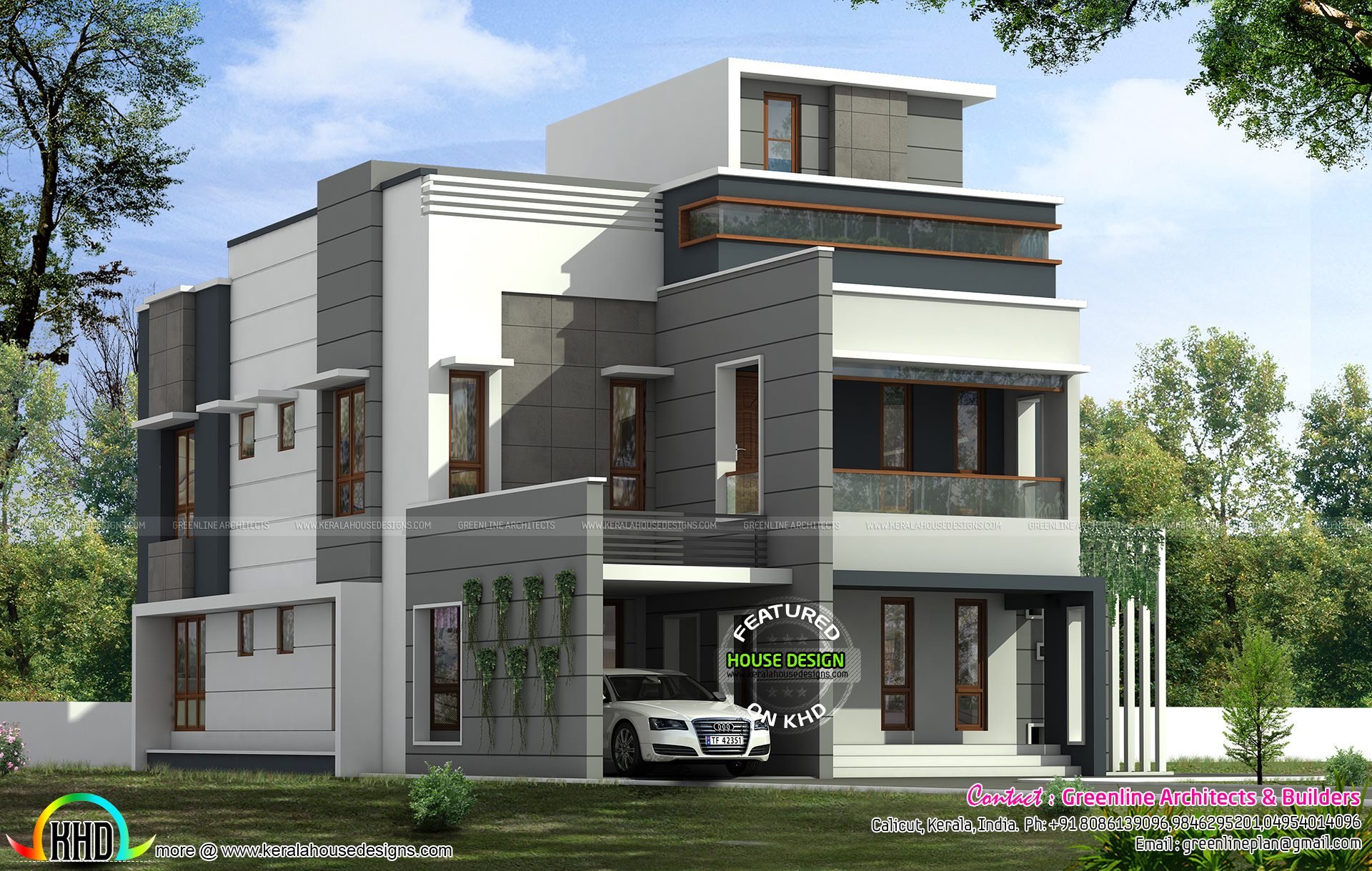 311 sq yd modern contemporary 5 bedroom house kerala for 5 bedroom modern farmhouse plans