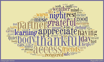 Word cloud of the February's gratitude notes in the shape of a cloud.