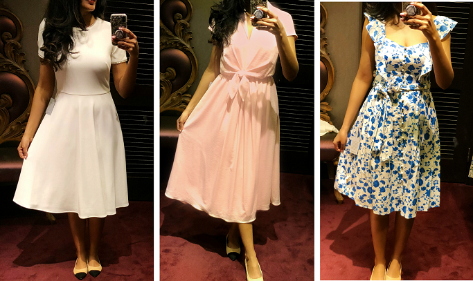 Gal Meets Glam Dress Collection Review, Pearly Trim Fit & Flare Dress, Gal Meets Glam Collection Tie Waist  Satin Midi Dress, Gal Meets Glam Collection Olivia Dress, Floral Wallpaper Print Fit and Flare dress