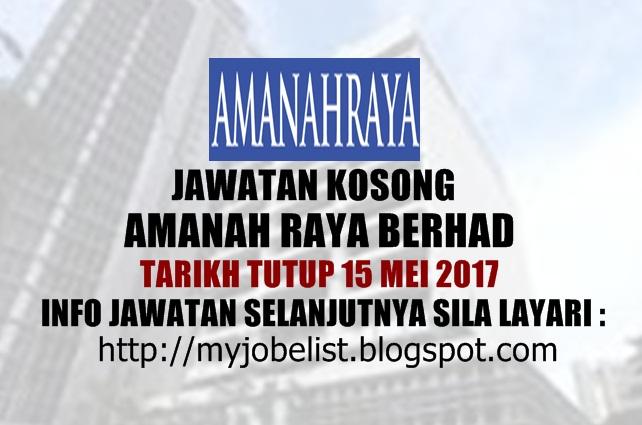 Jawatan Kosong Terkini di Amanah Raya Berhad Mei 2017