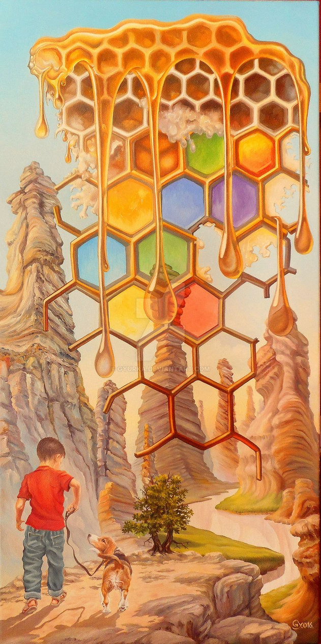 04-Into-The-Milk-And-Honey-Land-Gyuri-Lohmuller-Complex-Surreal-Paintings-that-make-you-Think-www-designstack-co