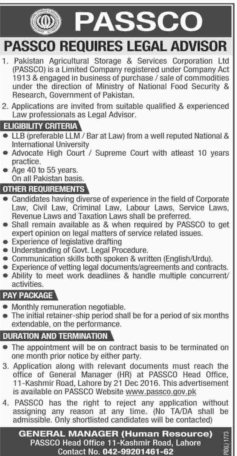 PASSCO Pakistan Govt Jobs In Lahore 2016