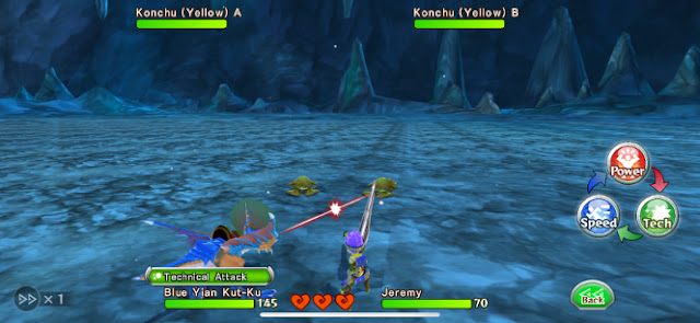 The main character and a Blue Yian Kut-Ku battle against two Konchus.
