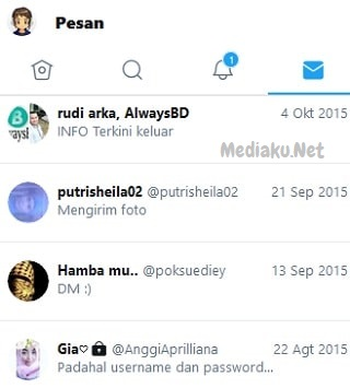 Buka Pesan Di Twitter Lewat HP