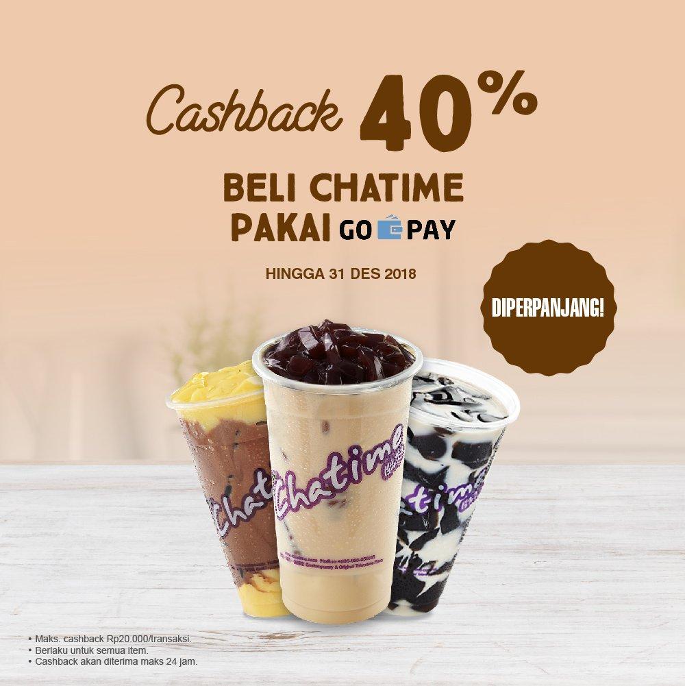 Chatime - Promo Cashback 40% Pakai GOPAY (s.d 31 Des 2018)